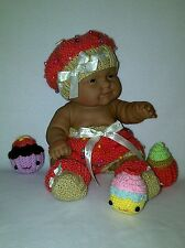 """14"""" Berenguer doll/ 16"""" Baby Born doll knitting PATTERN Cupcake outfit hat shoes"""