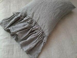 Linen pillowcase with double ruffle ruffled pillowcase linen bedding queen shams