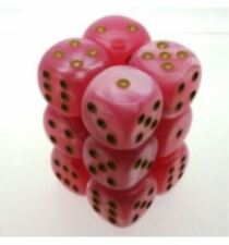 Chessex 16mm 12 Die Easter Pink with Gold Numbers d6 12 Set Dice CHX LE763