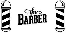 large the barber front window barbers pole shop vinyl sticker sign wall art hair