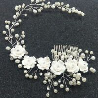Jewelry Women Prom Crystal Pearl Headpiece Hair Comb Headband Bridal Flower