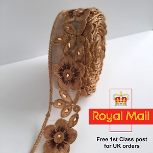 Gold Beaded Lace Ribbon Trim Indian Saree Border Bridal Sewing Ethnic Craft 1Mtr