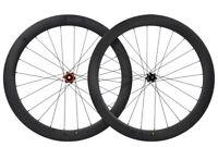 Disc Brake Road Bike Wheels Clincher Tubeless Carbon Wheelset 700C Matt Rim 55mm