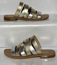 Louise et Cie Leather Metallic Strappy Flat Open Toe Sandals Shoes Sz: 6.5M
