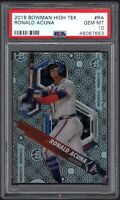 2018 Bowman High Tek #RA RONALD ACUNA Atlanta Braves PSA 10 GEM MINT