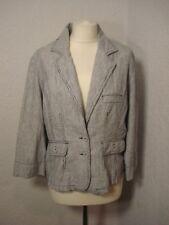 M&Co petite navy blue/white pin striped linen mix jacket/blazer 18