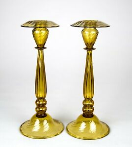 Carder Steuben Amber Optic Ribs Candlestick # 6110 Set of 2 Antique Glass Pair