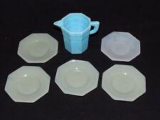 Akro Agate Child's Dishes Octagonal Blue & White -Off White 6pc. Set