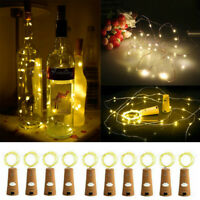10x Warm White Wine Bottle Cork String Lights 2m 20 LED Battery Cork Xmas Party