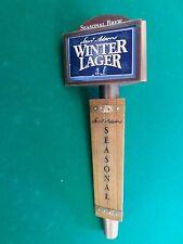 """3 Sided Wood & Bras Sam Samuel Adams Winter  9.5""""  Beer Keg Tap Handle Marker"""