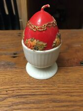Red Egg Candle - White Ceramic Holder - Made In Japan