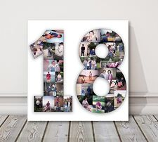 Number Photo Collage Canvas Print 1 2 3 18 21 50 70 80 . birthday present gift