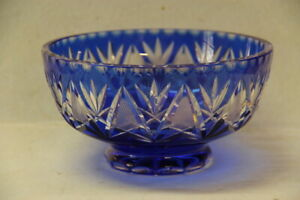 "Vintage GERMAN IMPERLUX COBALT BLUE HAND CUT LEAD CRYSTAL 7"" BOWL CUT TO CLEAR"