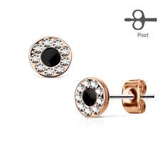 1 Paar Damen Ohrstecker Ohrringe Plättchen Rund Edelstahl Rosegold Kristalle 6mm