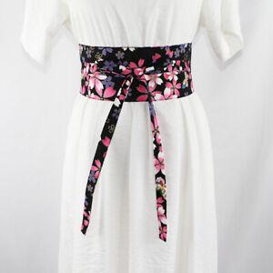 lady Wide Japanese Belt Corset Obi Retro Floral Tie Waistband Kimono Yukata Sash