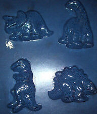 FOUR MEDIUM SIZED DIFFERENT DINOSAUR SHAPES CHOCOLATE MOULD OR PLASTER MOULD