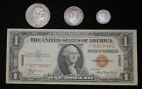 1935A Hawaii Silver Certificate + 1883 Hawaii 1/2 D, 1/4D and Dime