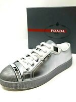 $575 New PRADA Womens Sneakers Flats Silver Ladies Shoes Size 36 37.5 38 6 7.5 8