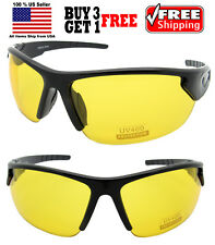 SPORTS BLACK FULL FRAME WRAP AROUND YELLOW LENS NIGHT DRIVING SUNGLASSES OUTDOOR