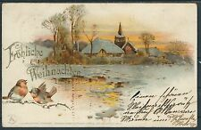 German Reich Gorgeous Litho for Christmas 1900 from Lübeck 24.12.1900