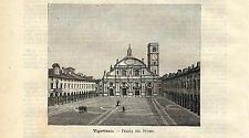 Stampa antica VIGEVANO Veduta di Piazza Duomo Pavia 1891 Old antique print