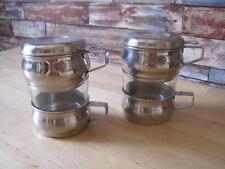 2 Tasses a cafe avec son filtre verre et  inox vintage