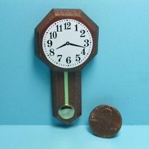 Dollhouse Miniature Simple Wood Wall Clock with Pendulum B0156