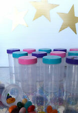 24 Pill Bottles JAR Pink Purple Aqua Caps Doc McStuffins Party 3814 DecoJars US