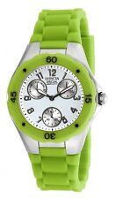 Invicta Womans Angel 18793 White Dial Chronograph Watch w. Green Silicone Band