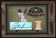 2004 TRESURES RICKEY HENDERSON AUTO #D /10 GAME USED BAT GAME DAY  RARE  HOF