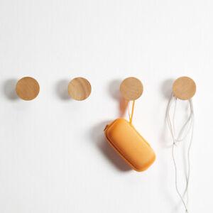 4PCS Wooden Solid Round Oak Peg Hallway Wall Mounted Door Hook Home Coat Hanger