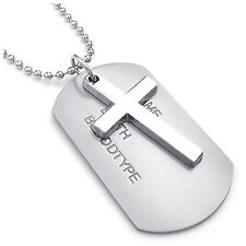 Men's Necklace Army Style Cross Tags Dog Tag Alloy Pendant with 68cm Chain F3S9