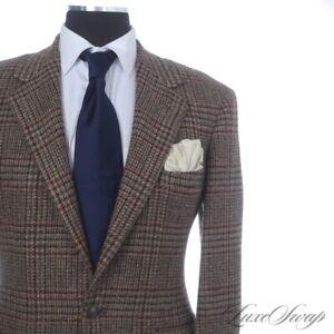 #1 MENSWEAR Vintage Polo Ralph Lauren Brown Wine Green Tweed Check Jacket 40 WOW