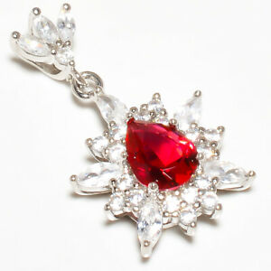 "Pink Rubellite Tourmaline & White Topaz 925 Silver Pendant Jewelry 1.20"" W2425"