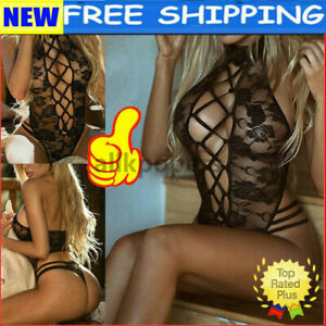 Sexy Crotchless Fishnet Babydoll Bodysuit BodyStocking Lace Lingerie Underwear