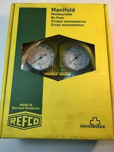 NEW OPEN BOX REFCO MANIFOLD BM2-6-F-R410A-FG-CCL-60 WITH CHARGING HOSES