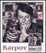 Grenada 3385 S/S, MNH. Anatoly Karpov, Chess Champion, 2003