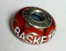 "PANDORA ,925 Sterling Silver Murano Glass Charm: ""BASKETBALL"" Etched in White"