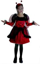 Girl's Lady Bird Bug Fancy Dress Costume with Wings - Medium Age 7 - 9 Yrs - New