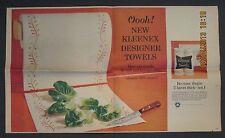 1965 Kleenex Designer Line Paper Towels two page color newspaper advertisement