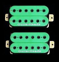 Guitar Parts GUITARHEADS PICKUPS HEXBUCKER HUMBUCKER - Bridge Neck SET 2 - GREEN