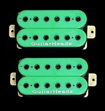 Guitar Parts GUITARHEADS PICKUPS HEXBUCKER HUMBUCKER - Bridge Neck SET 2 - GREEN