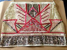 ZARA Pink GOLD Pink SEQUIN BEAD EMBROIDERED SKIRT Small S Sequinned Aztec