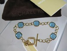 NWT Michael Kors Bracelet Gold Chain Blue Crystal Stone Pouch Botanicals 7 1/2""