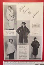 Fur coat advert 1930's: 4 x b&w photos of fur coats ORIGINAL 1934  Fashion Ad