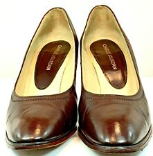 Charles Jourdan Pumps Womens Size 8 B Brown Leather Slip On Heel Shoes France