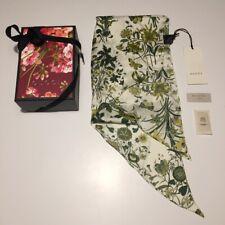 GUCCI originale, sciarpa/foulard disegno flora in pura seta con scatola