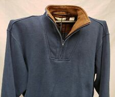 ORVIS SPORTING TRADITION 1/4 ZIP PULLOVER BLUE & BROWN Lg COTTON FLEECE SHIRT