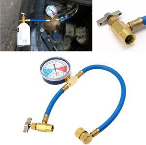 1x Car Air Conditioning AC R134A 24 bar Refrigerant Recharge Hose Pressure Gauge