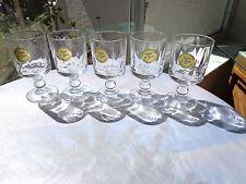 Set of 5 Cristal de Flandre Clear Crystal Cordial Glasses